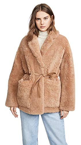 YVES SALOMON - METEO Women's Teddy Shearling Jacket, Romance, Tan, 40
