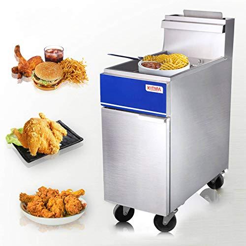Kitma Commercial Deep Fryer - 50 lb. Natural Gas 4 Tube Floor Fryer with 2 Fryer Baskets - Restaurant Kitchen Equipment for French Fries, 136,000 BTU/h