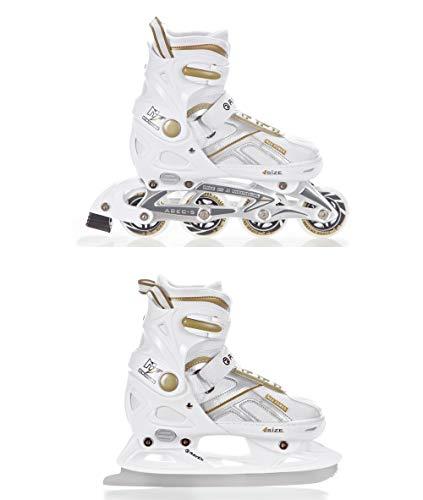 RAVEN 2in1 Schlittschuhe Inline Skates Inliner Pulse White/Gold verstellbar Größe: 40-43 (25,5-28cm)
