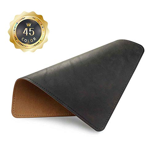 PU Leather Mouse Pad with Stitched Edge Micro-Fiber Base with Non-Slip, Waterproof, Mouse Pad for Computers, Laptop, Office & Home,1 Pack, 8inch11inch (Black 2.0)