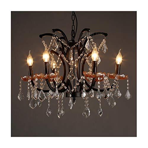 LJF - Lámpara de techo de hierro forjado E14, para salón, decoración, dormitorio, café, restaurante, suspensión [clase energética A +]