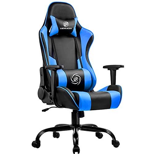 LUCKRACER Gaming Stuhl Bürostuhl Gamer Ergonomischer Stuhl die erneuerten befestigten stabileren Armlehnen Einteiliger Stahlrahmen Blau