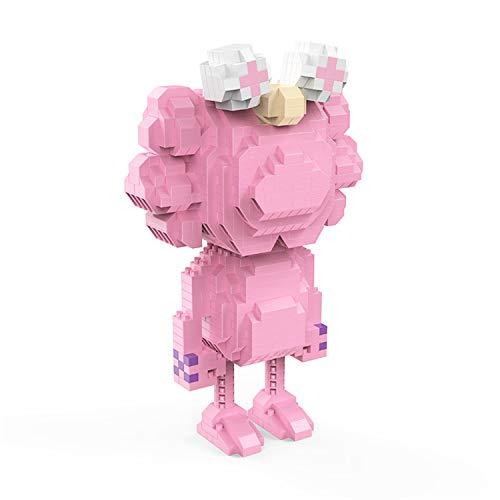 BAIDEFENG Bloques De Construcción para Niños Anime Serie KAWS Stress Reliever Nano Micro Bloques Rompecabezas 3D Juguetes De Bricolaje Modelo Regalos Niños Adultos (Rosa)