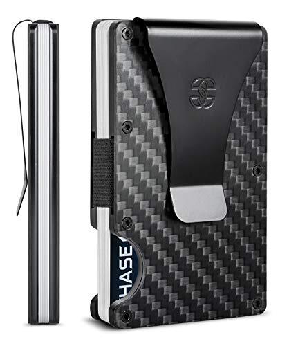 SUAVELL Slim Wallets for Men. Carbon Fiber RFID Mens Wallet w Money Clip. Thin, Minimalist Credit Card Holder (Black Element)