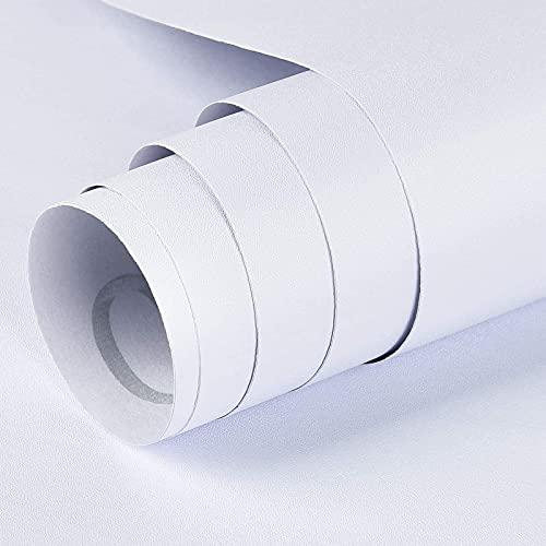 SacJkt Pellicole Adesive per Mobili, Autoadesivo Adesivi Mobili 40CM x 6M, Carta da Parati in PVC per Camere da Letto, Soggiorno, Dormitorio (Bianco)