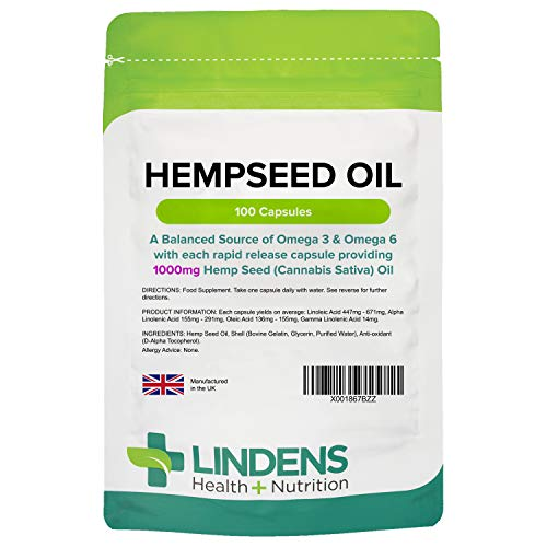 Lindens Hempseed Oil 1000mg Capsules - Containing Essential Fatty Acids, Omega 3 & 6 - Supports Heart Health and Lowers Cholesterol - 100 Capsules