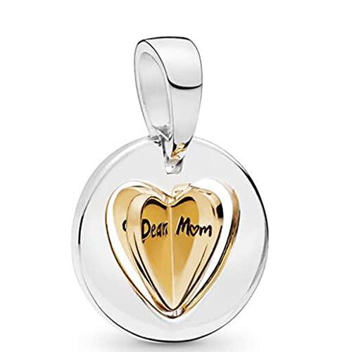 WUXEGHK Encanto De Plata Esterlina 925, Corazón Dorado De Mamá Brillante, Grabado Dear Mum Bead Fit Pan, Pulsera Y Collar, Joyería