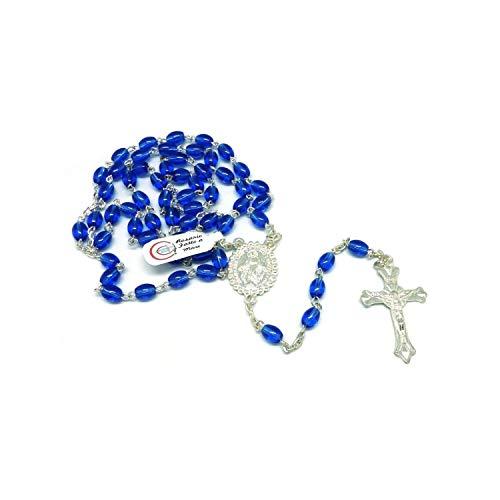 DELL'ARTE Artículos religiosos, rosario de cristal color azul, 7 x 5 mm, con caja para rosario