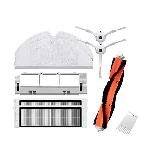 Zubehör für XiaoMi/Vacuum Cleaner Saugroboter (9-Teilig),1 Zentralbürste + 2 Seitenbürste + 1 Reinigungshilfe + 2 HEPA Filters,+ 1 Hauptbürstenabdeckung +2 MOP -Teile Ersatz