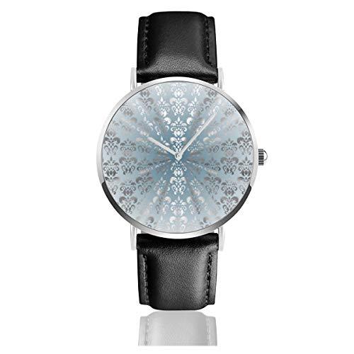 Damen-Armbanduhr, silberfarben/grau/blaues Damast-Lederarmband, klassisch, Edelstahl, Quarzuhr