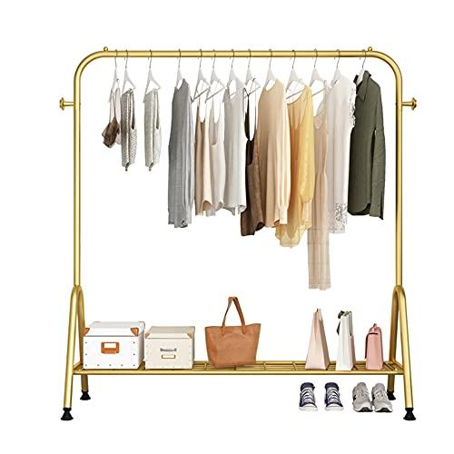 Barra de ropa resistente, perchero de exhibición de ropa con 2 ganchos y perchero inferior, percha multifunción/dorado / 80cm