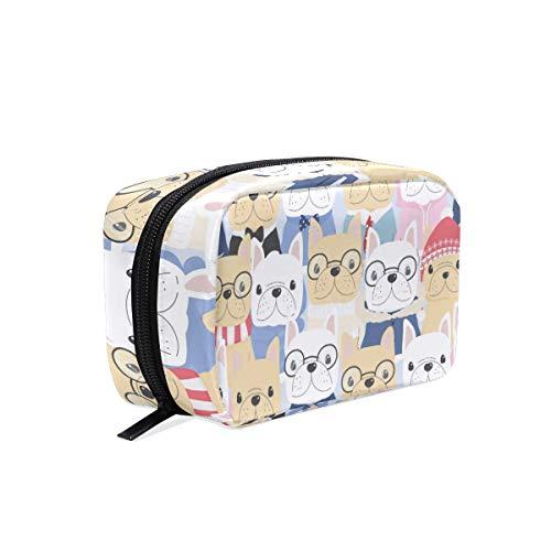 AJINGA Lindo francés bulldog suave hombre traje cosmético bolsa de viaje bolsa de viaje de las señoras cuadrado maquillaje pinceles bolsa de la bolsa