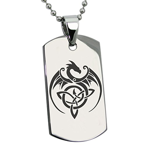 Stainless Steel Celtic Dragon Triquetra Symbol Dog Tag Pendant Necklace