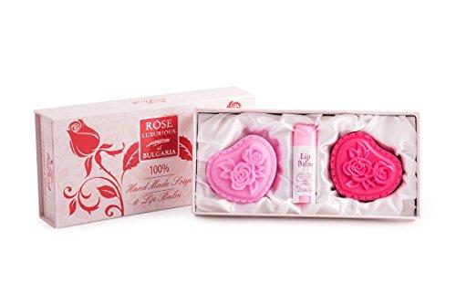 Bio-Fresh Coffret cadeau Rose bulgare 2 savons mains 70 g et baume à lèvre 5 ml