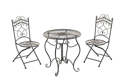 CLP Set da Giardino Indra Tavolo + 2 Sedie - Set Esterno Tavolo e Sedie Pieghevoli in Ferro Stile Vintage – Set Balcone Stile Shabby Tavolo Outdoor Rotondo Bronzo