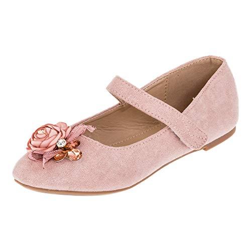 Edle Festliche Kinder Mädchen Prinzessinnen Schuhe Ballerinas mit Schnalle M518rs Rosa 34 EU