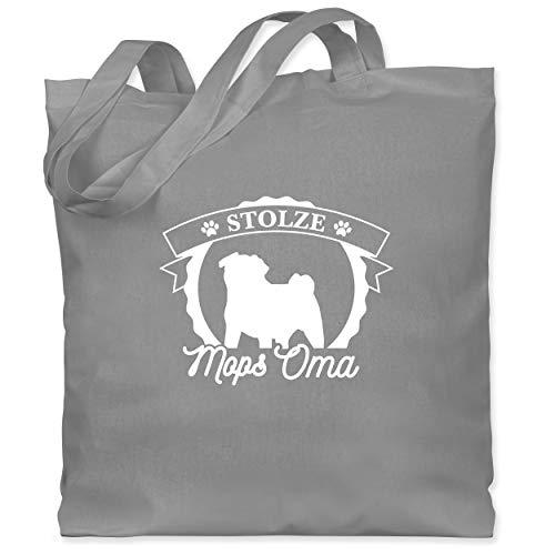 Shirtracer Hunde - Stolze Mops Oma - Unisize - Hellgrau - mops schwarz - WM101 - Stoffbeutel aus Baumwolle Jutebeutel lange Henkel