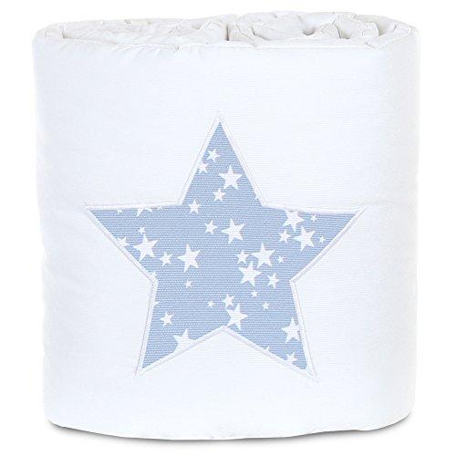 Babybay 100835 Tour de lit en piqué Convient pour Le modèle Original, Blanc avec Application Bleu Ciel et d'étoiles Blanches, Multi Color, Taille Unique