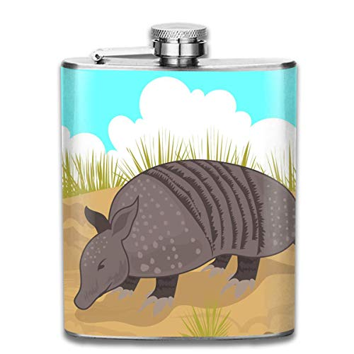 Rundafuwu Flask for Liquor, Armadillo Looking for Food 7 Oz Printed Stainless Steel Hip Flask for Drinking Liquor E.g. Whiskey, Rum, Scotch, Vodka Rust Great Gift