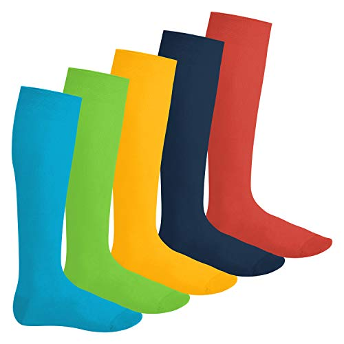 Footstar Herren & Damen Kniestrümpfe (5 Paar), Klassische Strümpfe aus Baumwolle - Everyday! - Trendfarben 39-42