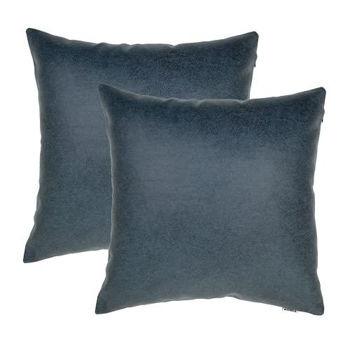 Juego de 2 Fundas de cojín cuadradas Decorativas Suaves Funda de Almohada de Tiro de Azul 45x45 cm Fundas de Almohada para la Sala de Estar Sofá Dormitorio Patio Exterior Banco de jardín