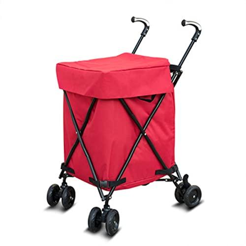Carrito de compras liviano, plegable, 8 ruedas, gran capacidad, resistente al desgaste, silencioso, rueda giratoria de 360 ° y asa de aleación de aluminio ajustable, carrito de maletero plegable,Rojo