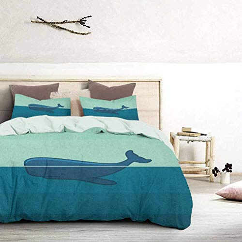 UNOSEKS LANZON Bedding Duvet Cover Set Big Blue Whale Half of it Swimming on the top of Ocean Sea Life Image Teen Bedding Cover Enjoy a Great Night's Sleep Pale Blue and Dark Blue, King Size