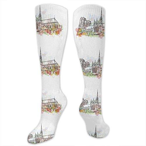 Nifdhkw Notre-Dame De Paris France Knee High Sport Compression Long Sock For Football Working
