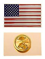 アメリカ合衆国 USA 長方形フラッグ ラペルピン エナメル 金属製 お土産 帽子 メンズ レディース 愛国的 アメリカン (長方形ピン)