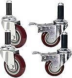 Ruote industriali per impieghi gravosi Ruote per il trasporto del carrello 3 pollici 75 mm M12; Filettatura 60 mm con manicotto in gomma Ruote girevoli universali in PU con doppio cuscinetto freno 80