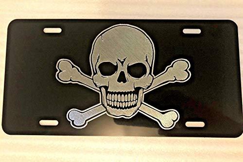 Diamond Etched Skull & Crossbones Logo Car Tag on Aluminum License Plate