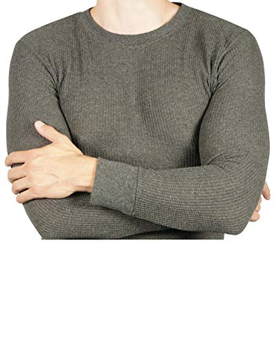 Joe Boxer Thermal Crew Tops - Base Layer Shirt - Long Sleeve Undershirt (Charcoal Grey, XL)