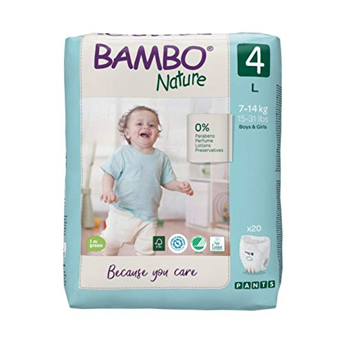 Bambo Nature Premium Baby Diapers - Pants Style, Large Size, 20 Count - Super Absorbent Toilet Training Pull Ups with Wetness Indicator for Kids from 5-12 Months