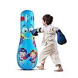 LncBoc Saco de boxeo para niños de 125 cm, juguete de boxeo de pie libre para niños, bolsas de boxeo de fitness independientes, bolsa de boxeo pesada, bolsa de velocidad para niños MMA (azul)