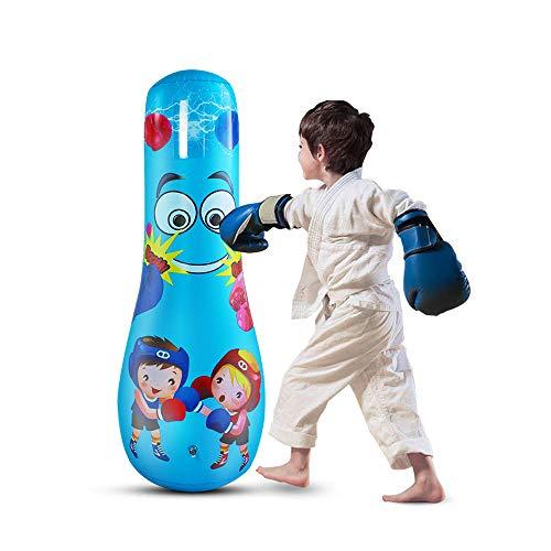 LncBoc Boxsack für Kinder, 125 cm, freistehendes Boxspielzeug für Kinder, Fitness, freistehend, schwerer Boxsack, Speedbag, Kinder, MMA Taschen (blau)