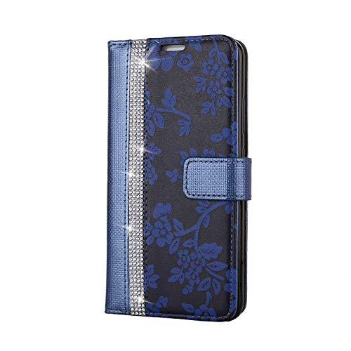 Huawei P10 Hülle, SONWO PU Leder Brieftasche Flip Schutzhülle, TPU Bumper Flip Schutzhülle Kompatibel Huawei P10 mit Karte Schlitz, Blau