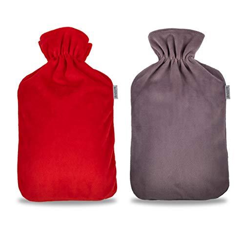 Anstore Wärmflaschenbezug 2 Pack, Flauschiger Coral Fleece Bezug für 2 Liter Wärmflasche, Grau und Rot (ohne Wärmflasche)