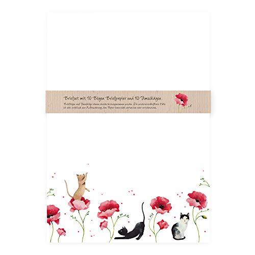 Juego de papel de carta elegante con sobres, 10 páginas DIN A4 con gatos en flores de amapola