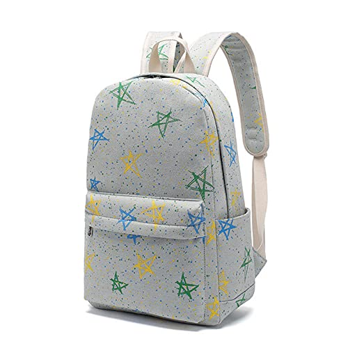 OKIUJG Mochila Escolar de la Estrella Azul de la Juventud,Bolso de Escuela Ligero de la Lona del Viaje Para Las Estudiantes