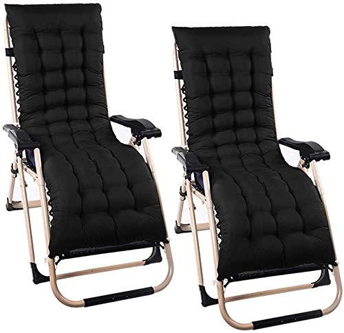 2 equipada deslizamiento cojín de la silla sol portátil muebles de exterior Chaise para reemplazar la cubierta del asiento antideslizante gruesa,Black