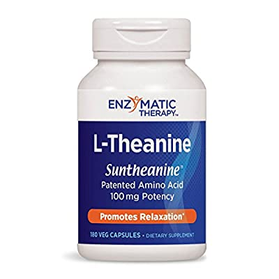 Enzymatic Therapy L-Theanine Suntheanine Brand Patented Amino Acid 100 mg Potency, 180 VCaps