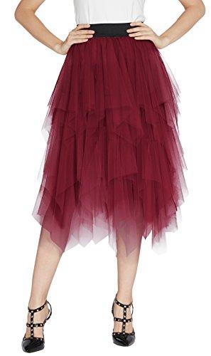 urban GoCo Mujeres Enagua Falda Corta Midi Tul Damas Cintura Elástica Asimetricas Tutu Falda para Fiesta Danza (XL, Vino Rojo)
