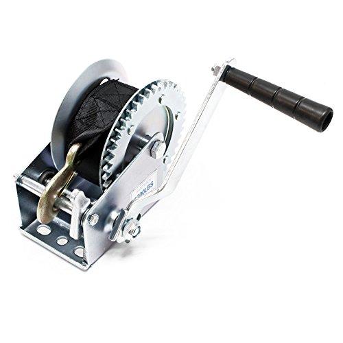 Handseilwinde bis 550kg 7m Zugband 4.1:1 Seilwinde Greifzug Handseilzug Forstseilwinde