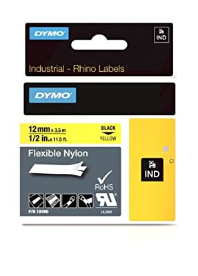 "DYMO Industrial Labels for DYMO Industrial RhinoPro Label Makers, Black on Yellow, 1/2"", 1 Roll (18490)"