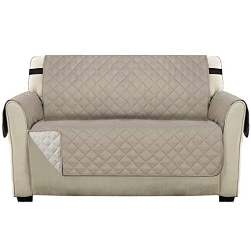 Reversible Slipcover Quilted Furniture Protector Loveseat Cover with Adjustable Elastic Strap, Seat Width Up to 46' Couch Cover for Pets, Water-Repellent Sofa cover 2 Seater (Loveseat, Sand/Beige)