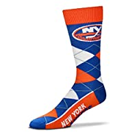 For Bare Feet NHL Argyle Lineup Unisex Crew Dress Socks-One Size Fits Most-New York Islanders