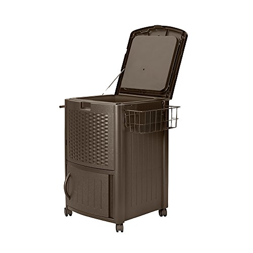 Suncast Resin Wicker Outdoor Cooler with Wheels