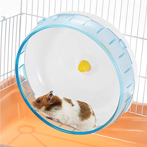 JUILE YUAN Silent Hamster Wheel-Pets Running Sports Exercise Wheel 7' - Exercise Wheel + Cage Attachment - for Hamsters, Gerbils, Mice and Other Small Pets Stay Healthy (Blue)