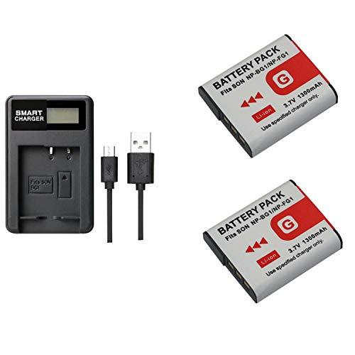 2 pcs 1300 mAh NP-BG1 NPBG1 FG1 batería con LCD cargador de batería individual para SONY DSC-H3 DSC-H7 DSC-H7 DSC-H10 DSC-H20 DSC-H20 DSC-H50 DSC-H55 DSC-H70