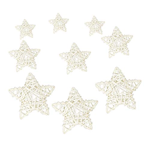 Colcolo 9pcs Decoraciones de Ratán Natural Estrellas de Ratán Adorno Colgante
